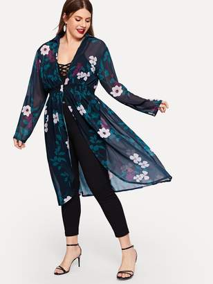 Shein Plus Floral Print Elastic Waist Kimono