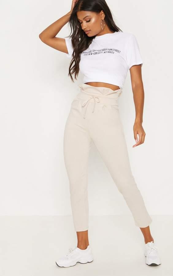 Cream Paperbag Waist Tapered Trouser