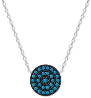 Macy's Manufactured Turquoise Medallion Pendant Necklace in Sterling Silver