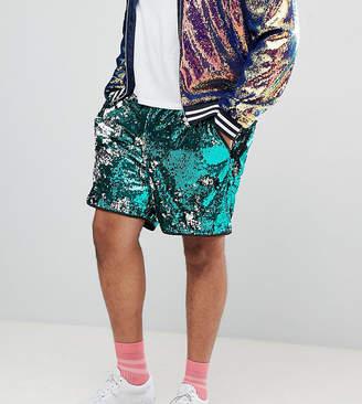 Asos DESIGN Plus festival slim shorts in green sequins