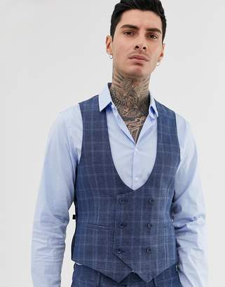 Gianni Feraud slim fit linen blend check suit vest double breasted scoop