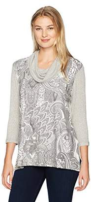 Ruby Rd. Women's Petite Mixed Printed Top in Lightweight Suede and Knit Combo