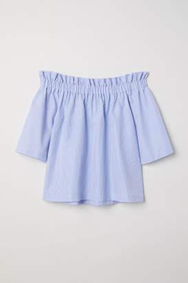 H&M Off-the-shoulder Blouse - Blue