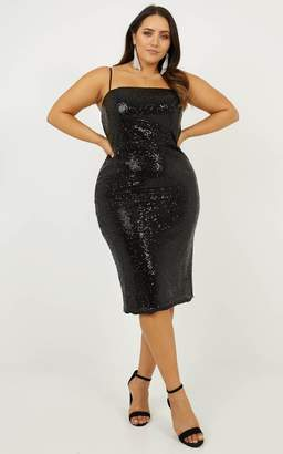 Showpo Classy Lady Dress in black sequin - 8 (S) Going Out Outfits