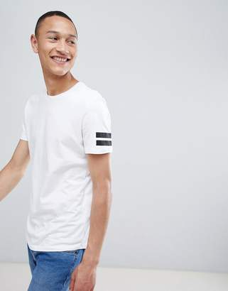 Jack and Jones Originals longline t-shirt with curved hem and arm stripes