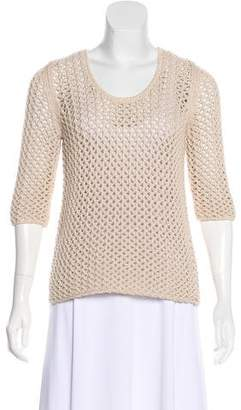 Burberry Open Knit Scoop Neck Sweater