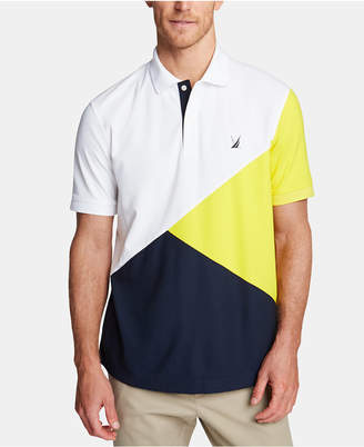 Nautica Men Blue Sail Classic Fit Moisture-Wicking Diagonal Colorblock Polo