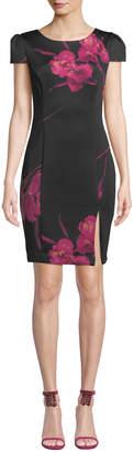 Betsey Johnson Floral Cap-Sleeve Body-Con Dress