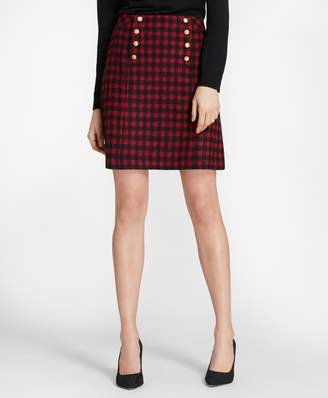 Brooks Brothers (ブルックス ブラザーズ) - 【オンライン限定SALE】Red Fleece ウールブレンドツイード ミニバッファローチェック Aラインスカート