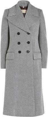 Burberry Aldermoor Herringbone Coat with Virgin Wool