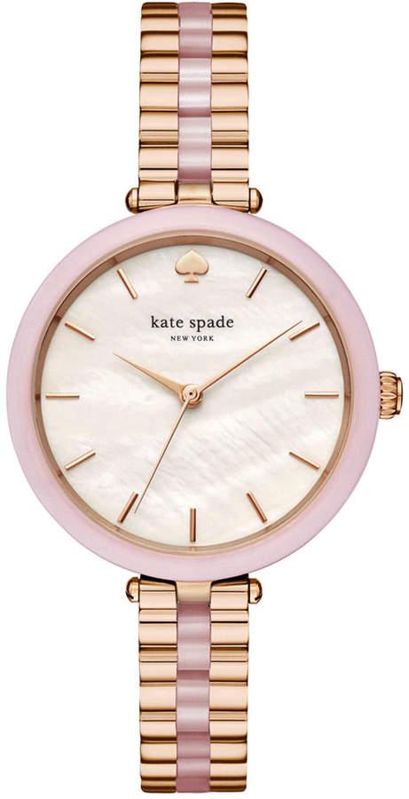 Kate Spadekate spade new york Women's Holland Rose Gold-Tone Stainless Steel and Blush Pink Acetate Bracelet Watch 34mm KSW1263