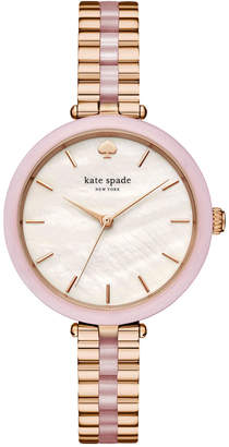 Kate Spade Women's Holland Rose Gold-Tone Stainless Steel and Blush Pink Acetate Bracelet Watch 34mm KSW1263