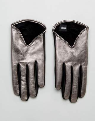 Asos Leather Short Silver Metallic Gloves