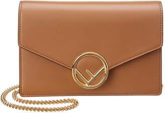 Fendi F Logo Leather Wallet On Chain