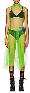 Prada Women's Logo Tulle Midi-Dress - Green