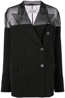 Maison Margiela double breasted sheer panel blazer