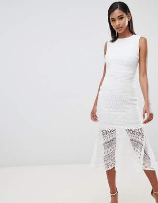Club L London lace peplem midi dress