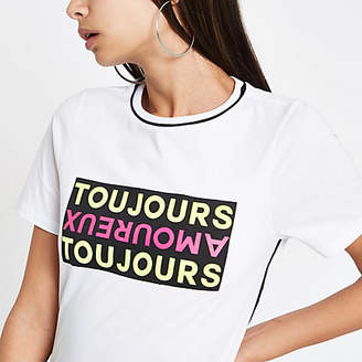 River Island Womens White 'Toujours' piped short sleeve T-shirt