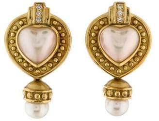 Penny Preville Diamond & Pearl Heart Earclips yellow Diamond & Pearl Heart Earclips