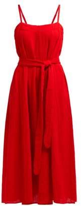Mara Hoffman Philomena Gathered Cotton Gauze Midi Dress - Womens - Red