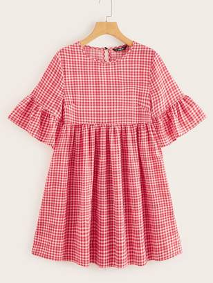 Shein Flounce Sleeve Gingham Print Smock Dress