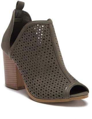 Top Moda Shakira Peep Toe Ankle Block Heel Bootie