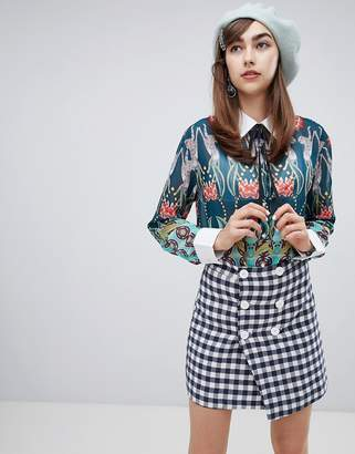 Sister Jane relaxed shirt with faux pearl buttons in ornate tropical print