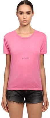 Saint Laurent Logo Printed Cotton Jersey T-Shirt
