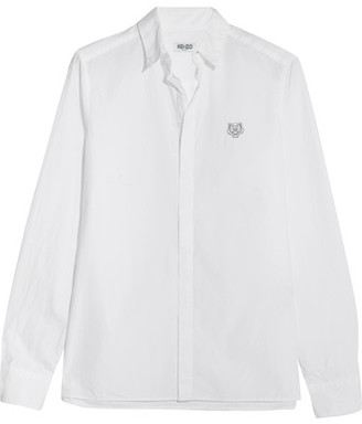 KENZO - Embroidered Cotton-poplin Shirt - White $215 thestylecure.com