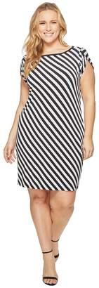 MICHAEL Michael Kors Size Tulip Sleeve Striped Dress Women's Dress