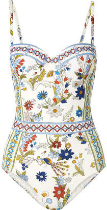 Tory Burch Meadow Folly Printed Underwired Swimsuit - White