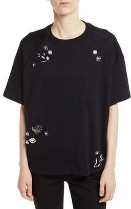 McQ Embellished Short-Sleeve Graphic Sweatshirt