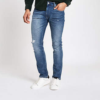 River Island Lee blue slim fit ripped tapered Luke jeans