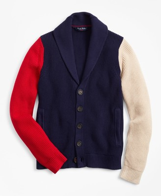 Brooks Brothers Boys Color-Block Shawl Cardigan