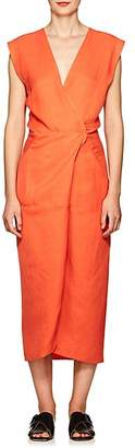 Zero Maria Cornejo Women's Kaia Slub-Twill Wrap Dress - Orange