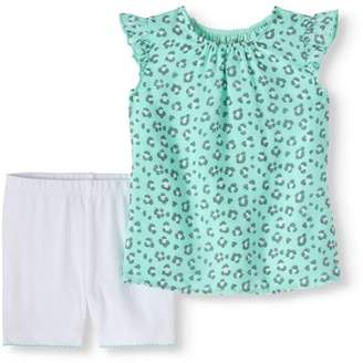 Healthtex Baby Girls' Flutter Sleeve Chiffon Blouse and Shorts, 2-Piece Outfit Set