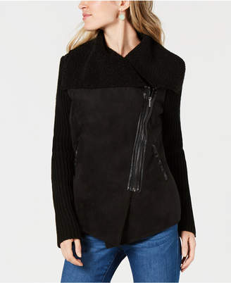 Style&Co. Style & Co Petite Faux-Sherpa Knit Drape-Front Moto Jacket, Created for Macy's