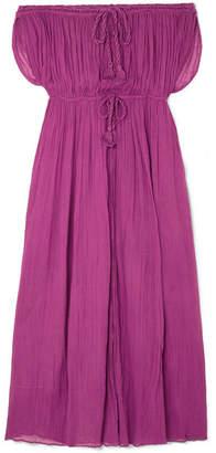 Miguelina Juno Off-the-shoulder Cotton-gauze Maxi Dress - Violet