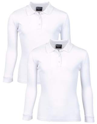 Beverly Hills Polo Club Girls' School Uniform 2 Pack Long Sleeve Cotton Interlock Polo