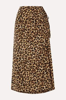Veronica Beard Vanity Ruched Leopard-print Stretch-silk Midi Skirt - Leopard print