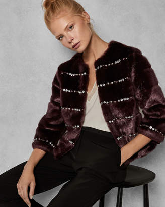Ted Baker MAIICY Embellished body faux fur jacket