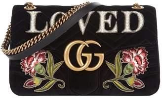 Gucci Medium Marmont Embroidered Velvet Loved Bag