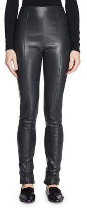 The Row Hailen High-Waist Fitted Lambskin Leather Leggings