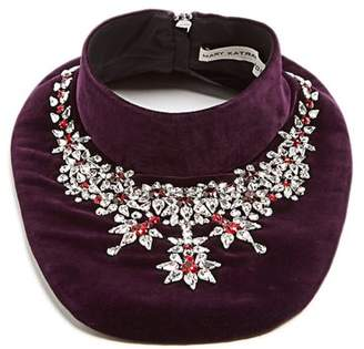 Mary Katrantzou Crystal Embellished Velvet Bib Necklace - Womens - Purple