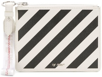 Off-White diagonal stripe clutch bag