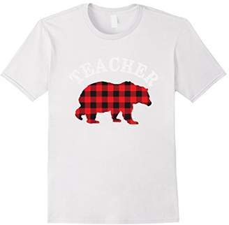 Mens Red Plaid Teacher Bear Matching Family Pajama T-Shirt Medium