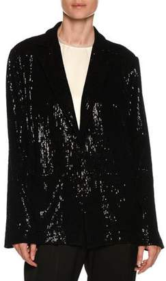 Giorgio Armani Flocked Velvet Sequin Oversized Jacket