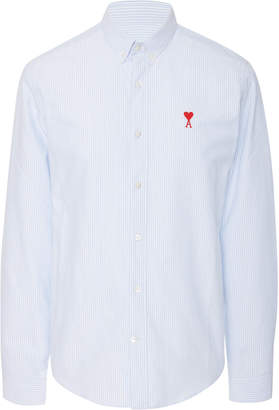 Ami Embroidered Cotton-Poplin Dress Shirt