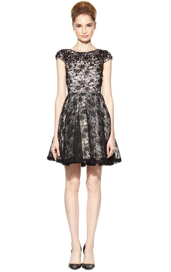 Alice + Olivia Aubree Embellished Lace Cap Sleeve Dress