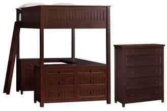 Pottery Barn Teen Beadboard Loft & 5-Drawer Dresser Set, Full, Dark Espresso